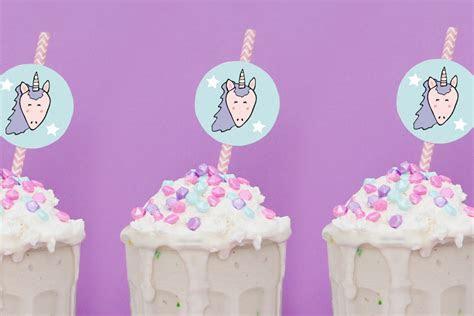 Birthday Cake Milkshake   Unicorn Straw Toppers (Free