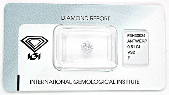Original-Foto 1, DIAMANT, IGI!!!, 0,51ct TOP-WESSELTON-F VS2 WERT JUWEL!
