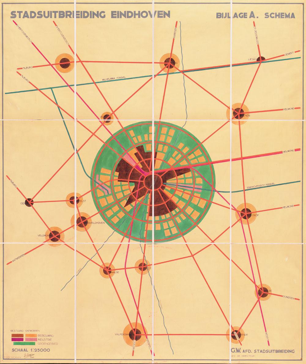 J.M. de Casseres, Eindhoven city expansion map, 1930