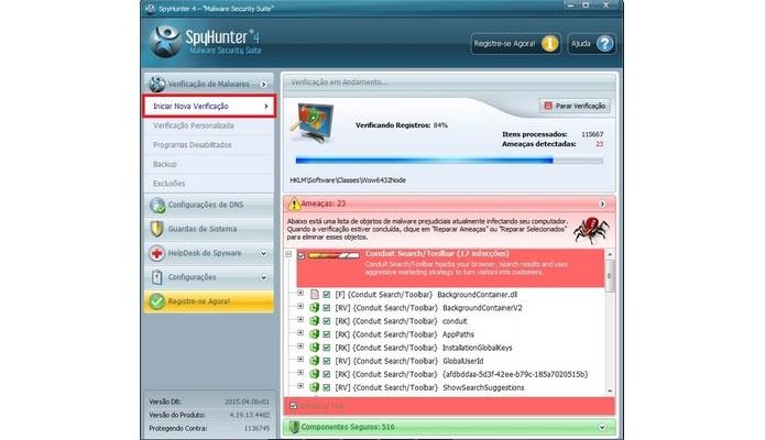 SpyHunter verificando ameaças em PC infectado (Foto: Reprodução/Raquel Freire)