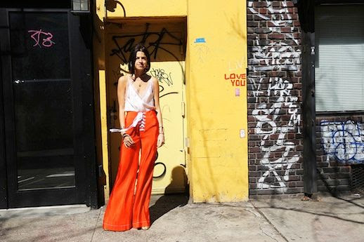 Le Fashion Blog Leandra Medine Spring Orange Wide Leg Pants Silk Cami Top Via Man Repeller
