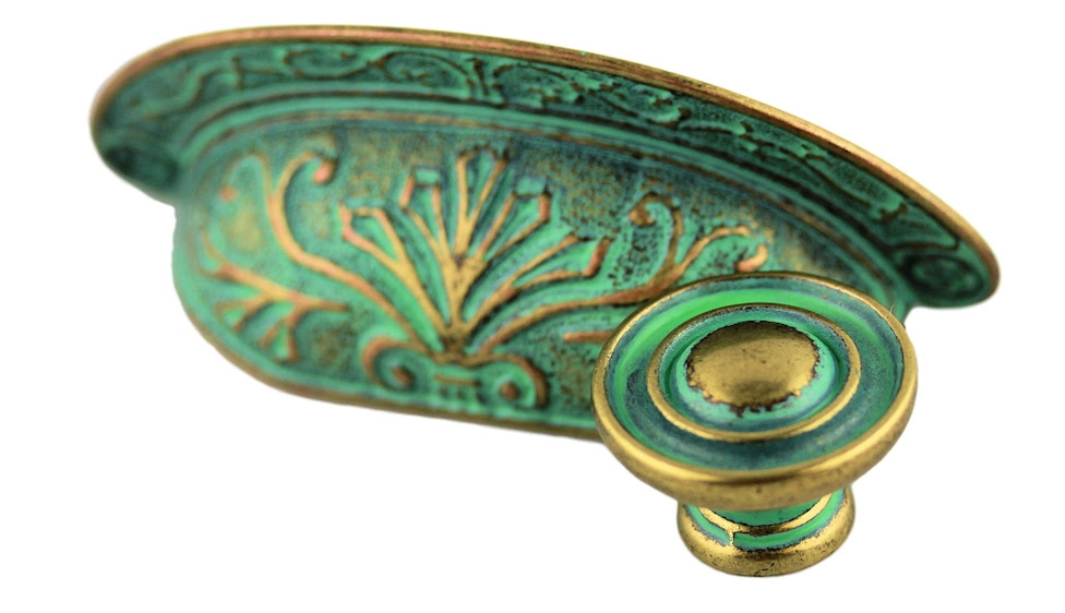 Matching Verdigris Cup Pull & Knob - D. Lawless Hardware