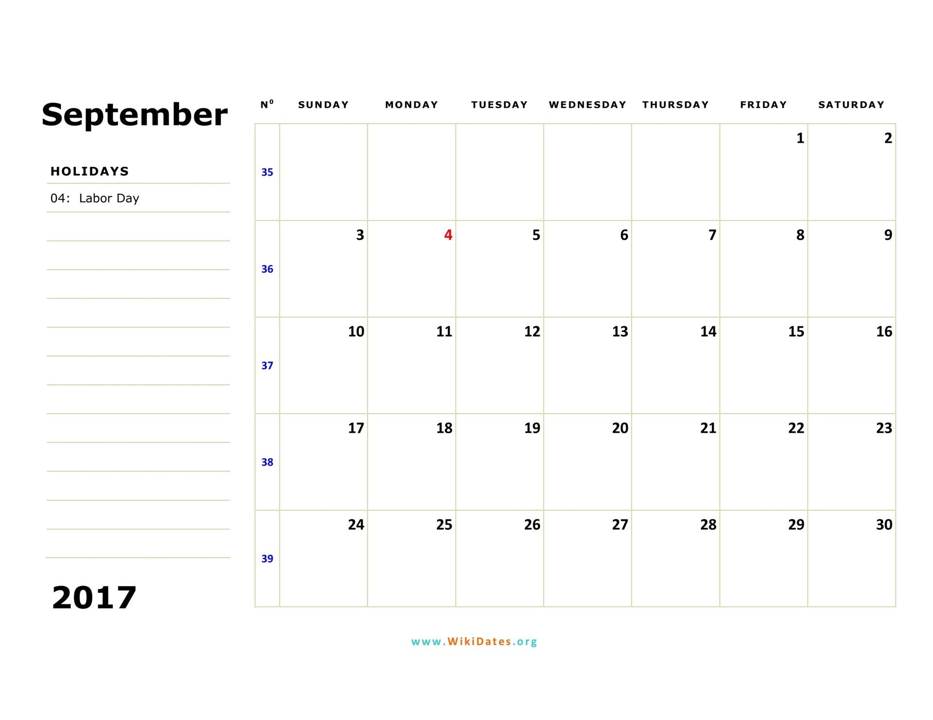 September 2017 Calendar  WikiDates.org