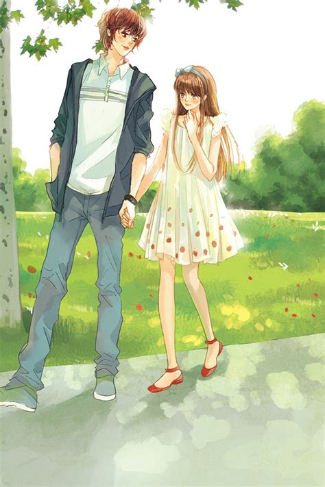 love anime couple boy girl tree red shoes white dress