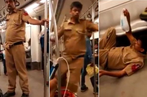 Police officer boards a train in uniform appearing to be completely drunk