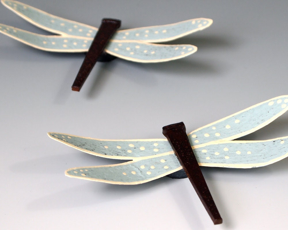 Dragonfly Magnet Set Metal Sky Blue Dragonflies by merritthyde
