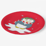 Adorable Christmas Penguin 9 Inch Paper Plate