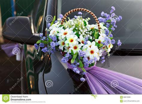 Decorating Wedding Car Basket Flowers. Stock Photo   Image