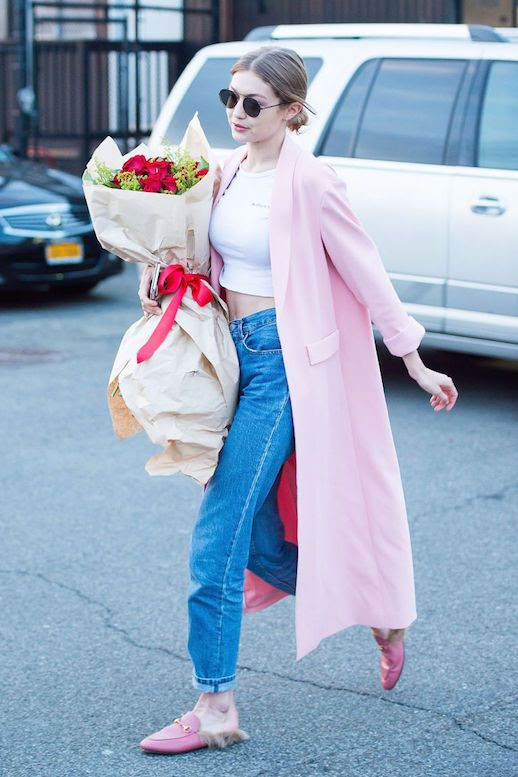 Le Fashion Blog Gigi Hadid Pink Duster Coat White Cropped T Shirt Cuffed Jeans Pink Gucci Loafers Via Elle