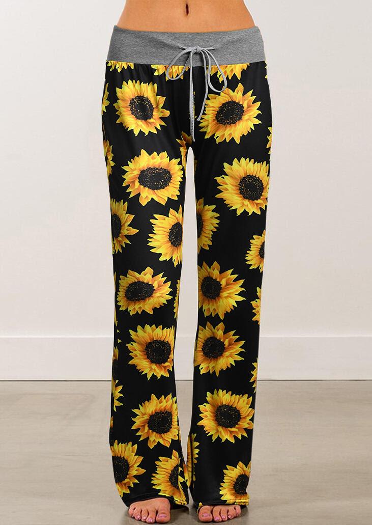 Pants Sunflower Drawstring Wide Leg Pants in Black. Size: S,M,L,XL,2XL,3XL