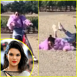 Kendall Jenner Wipes Out While Riding a Bike (Video)