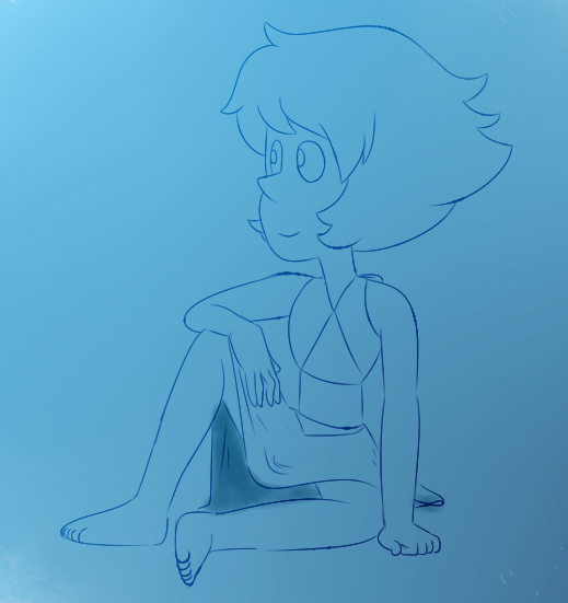 "Old sketch of Lapis. Was studying how to draw her face, which is traced from a scene on ""Gem Harvest"""