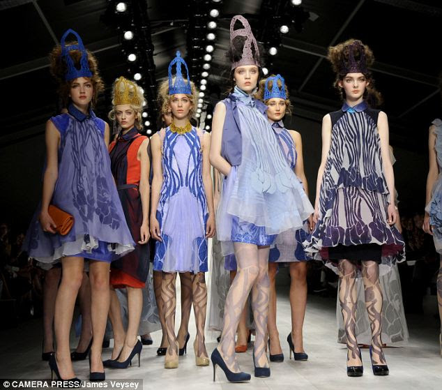 Queens of style: Icy blues, patterned tights and elaborate crowns dominated the spring/summer show