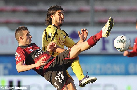 Scare: Piermario Morosini collapsed during Livorno's game with Pescara