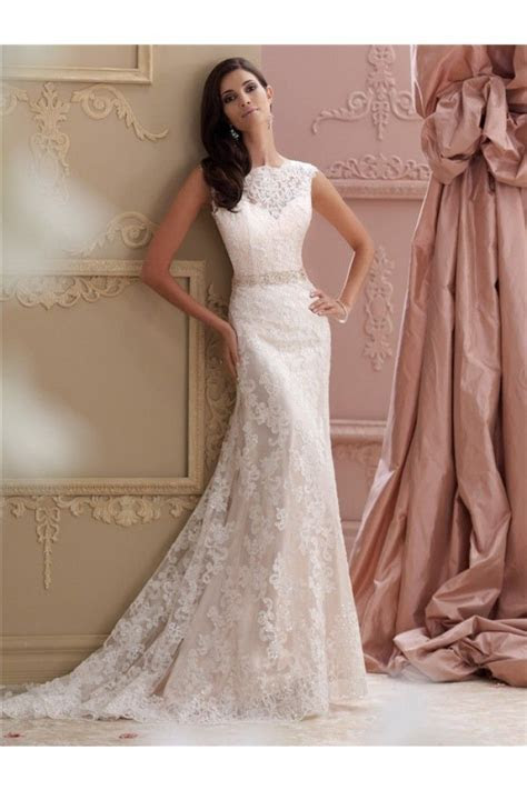 Glamour Mermaid High Neck Deep V Back Lace Glitter Wedding