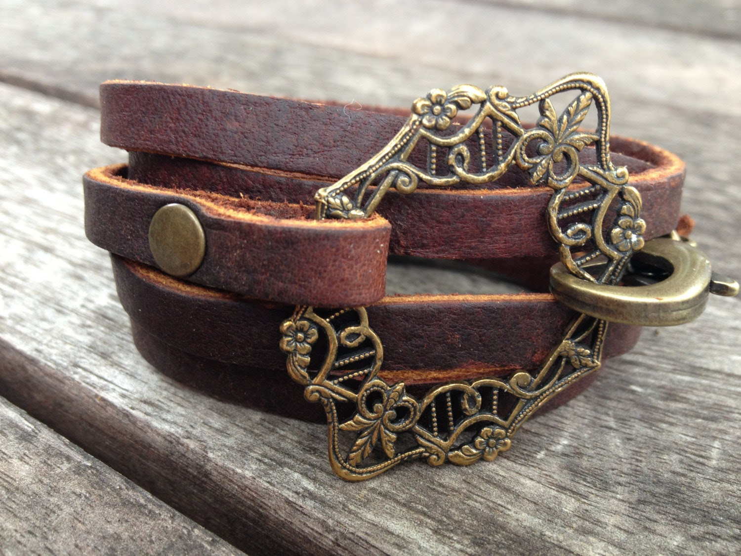 brass filigree leather wrap BRACELET - stoneandsmith