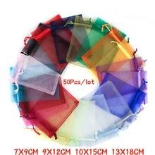 50Pcs 21 Color 7X9 9X12 10X15 13X18cm Organza Bags Gift Bag