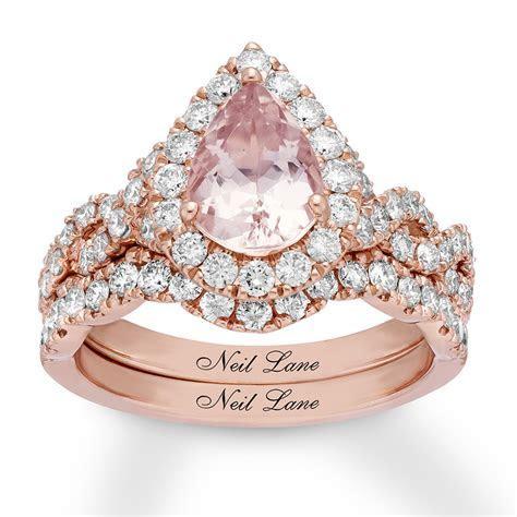 Neil Lane Morganite Bridal Set 1 ct tw Diamonds 14K Rose