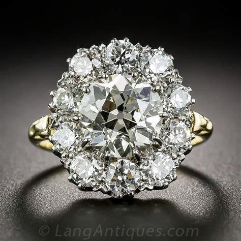 2.83 Carat Center European Cut Diamond Cluster Ring