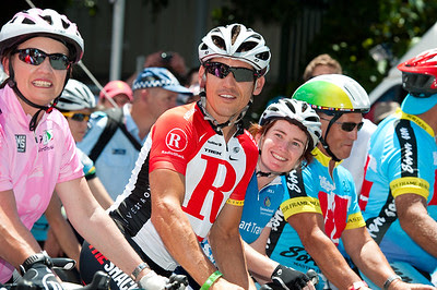 L-R: Queensland Premier Anna Bligh, Robbie McEwen, Rachel Nolan - Queensland Ride Relief, led by Lance Armstrong, Robbie McEwen & Allan Davis; Brisbane, Queensland, Australia; Monday 24 January 2011. Photos by Des Thureson - http://disci.smugmug.com
