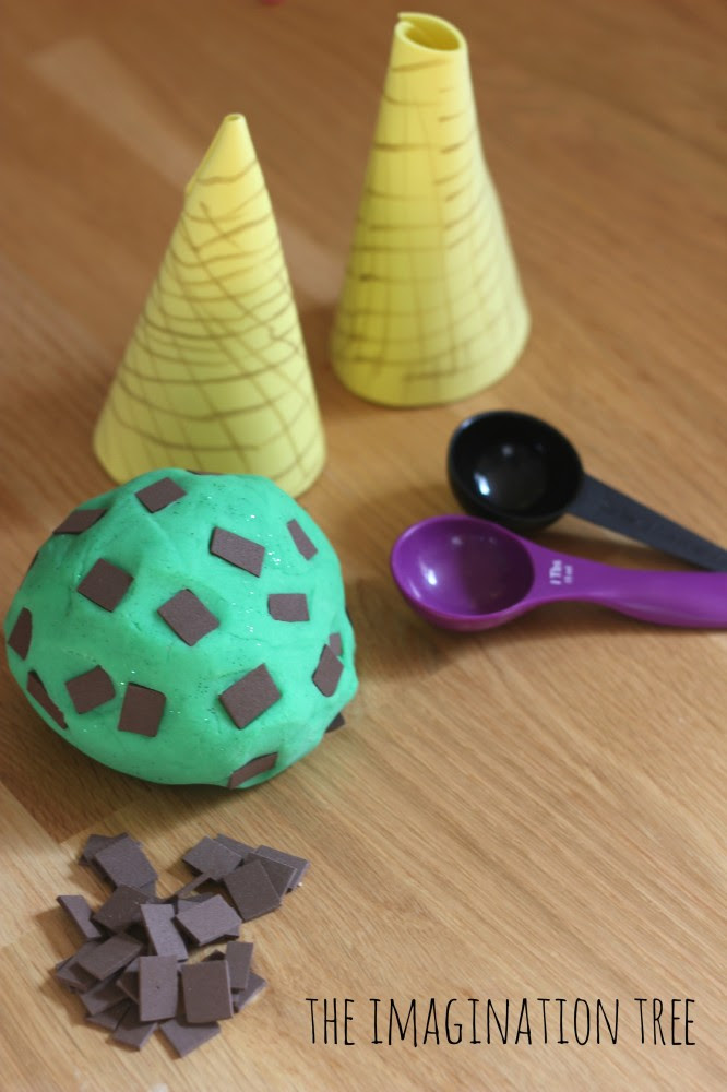 Invitation to play with mint choc chip play dough ice cream