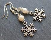 Freshwater Pearl and Snowflake Handmade Earrings- Silver Plated - PeppercornJewellery