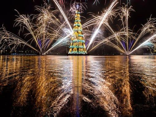The floating Christmas tree at Rodrigo de Freitas lagoon