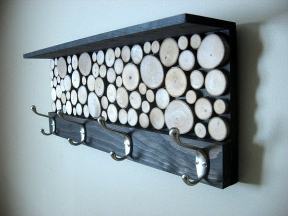 "Rustic Modern Coat Rack with Hooks and Shelf - 9""x24"" Made To Order"
