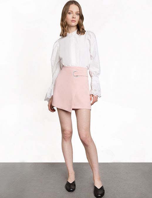 Le Fashion Blog White Eyelet Blouse Under 100 Pink Ring Wrap Mini Skirt Black Slides Via Pixie Market