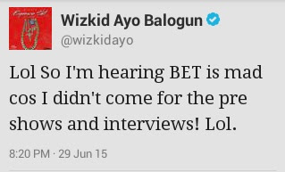 Wizkid Tweets About Why He Didn't Honour BET's Invitation