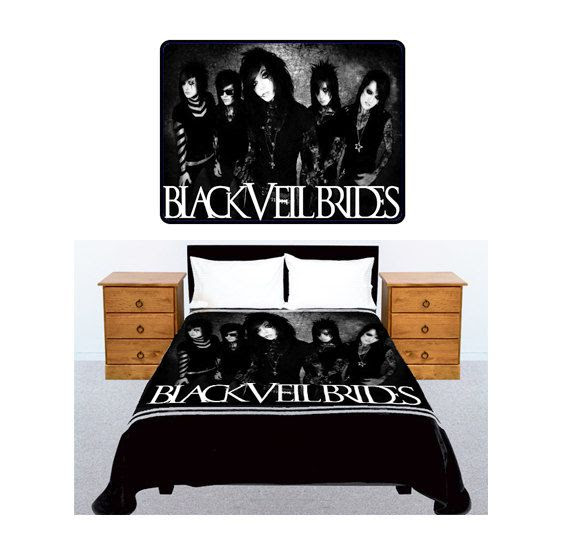 BLACK VEIL BRIDES American Rock Band Bedding Large Size 60x 80 Fleece Throw B