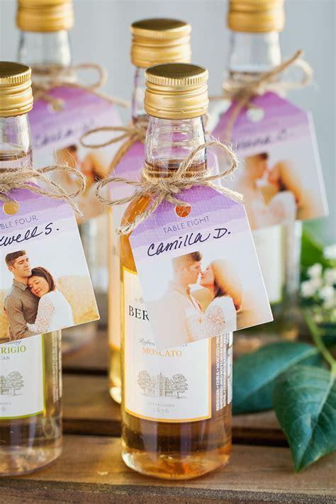 Mini Moscato Escort Cards   easy DIY wedding favors