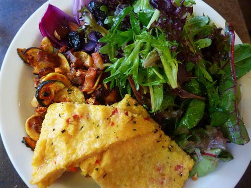 red pepper polenta and salad