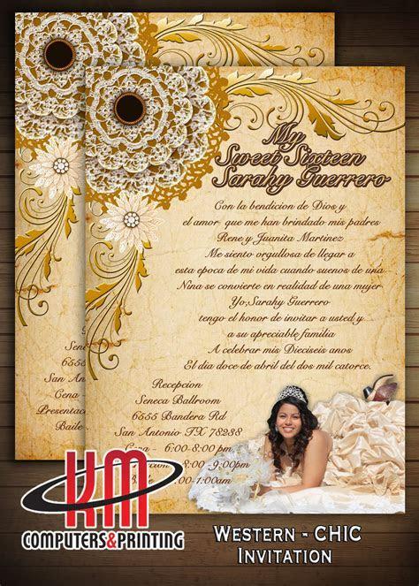 Western Chic Invitation 5x7 Wedding   XV Años   Bridal