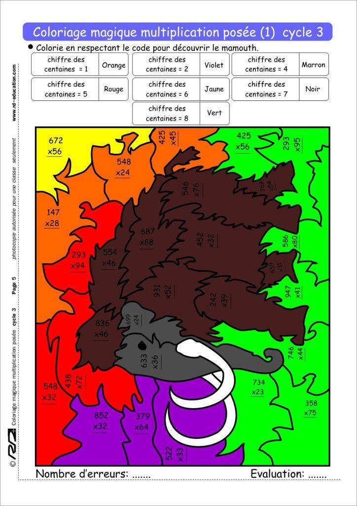 Coloriage Magique Multiplication Posée Cycle 3 Le Blog De Delphine