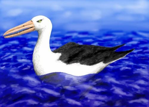 Osteodontornis, a pelagornithid, a huge, extinct bird with a bony bill with crocodile-style teeth