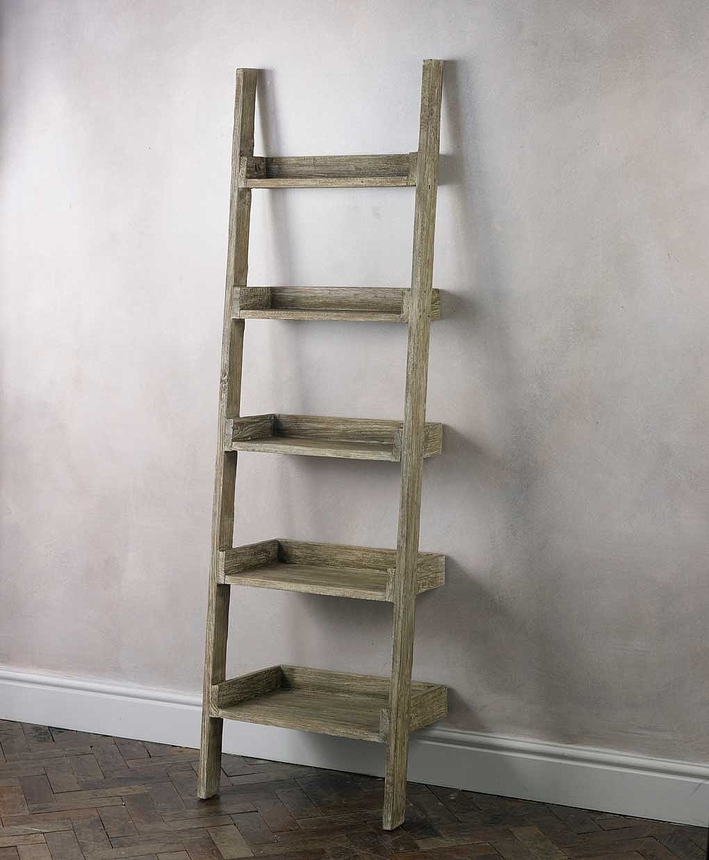 finn ladder shelving unit in rustic design with 5 shelves and grey painted wall and stunning floor patterns