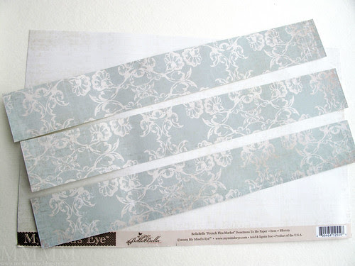 Step 10) Cut 3 strips of patterned paper  to fit the ribbon spool rings (2 to fit the 'top' ring - 1 to fit the bottom ring)