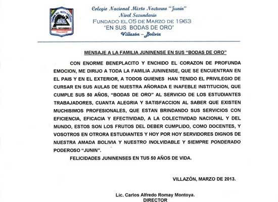 Mensaje de salutación Colegio Mixto Nocturno Junín