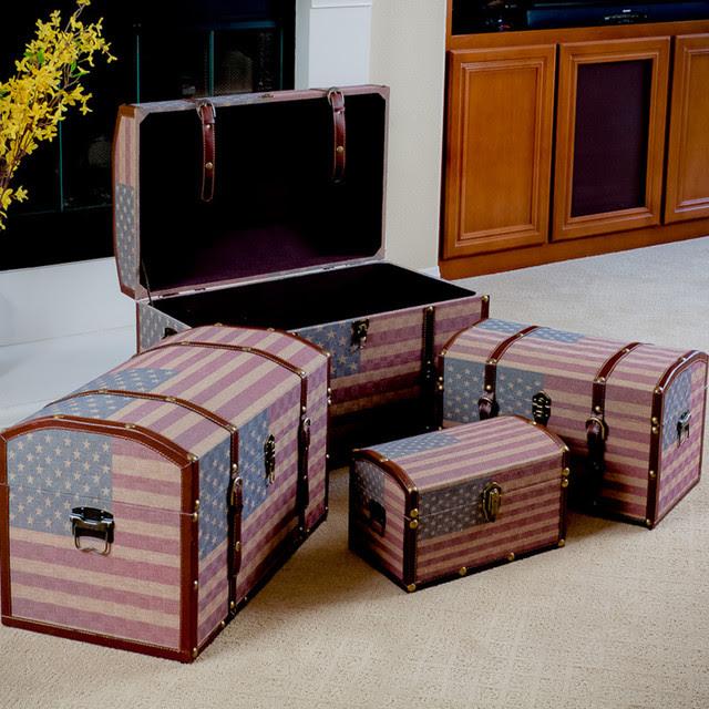US Flag Decorative Storage Trunks - Modern - Living Room ...