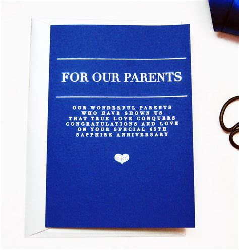 personalised 45th sapphire wedding anniversary card by