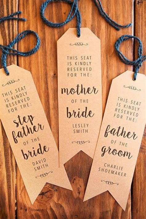 """Make Your Own Wedding Ceremony Chair """"Reserved"""" Signs"""
