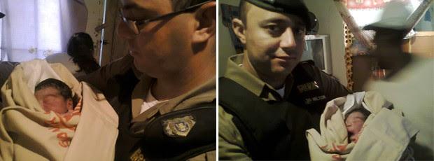Soldado Correia (à esq.) e Soldado Milton (à dir.) segurando o bebê após o parto em Pedralva (Foto: Polícia Militar)