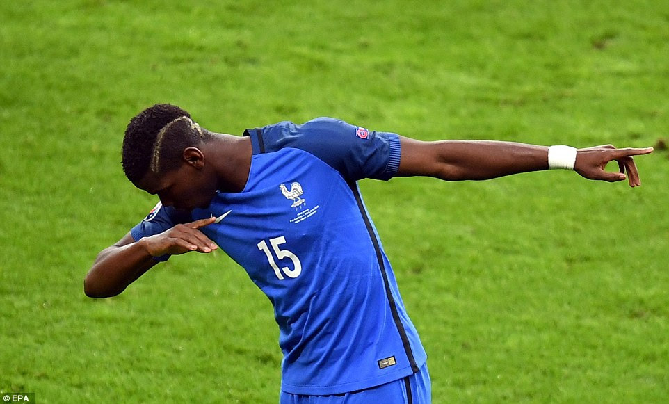 The Manchester United target marked the goal his strike in his customary manner by showing off his 'dab' celebration