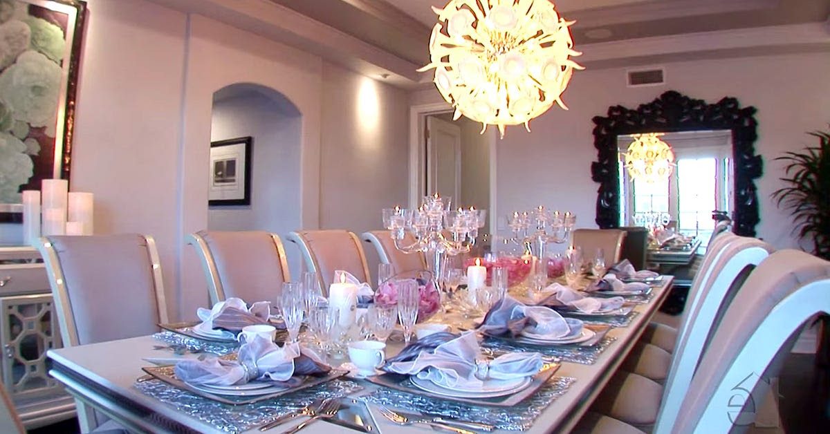 The formal dining room is bright and elegant.
