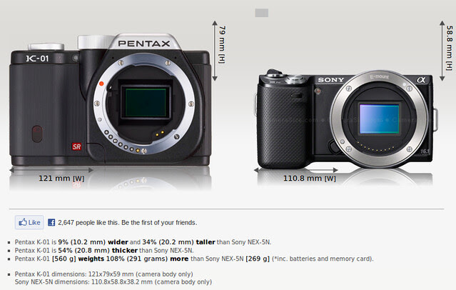 Pentax K-01 vs Sony NEX-5N on size