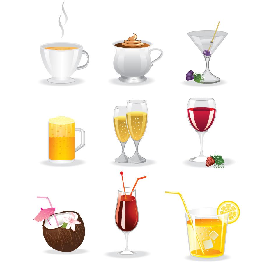 素材 カラフルなドリンク アイコン Colorful Drinks Icon イラスト素材