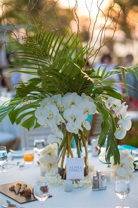 Tropical Wedding Centerpiece with Palm Leaves, Monstera