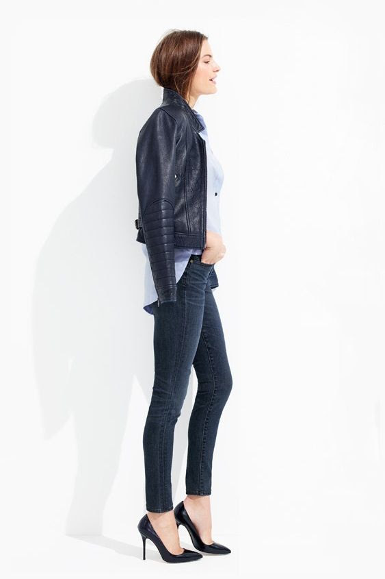 Le Fashion Blog Casual Friday Work Style JCrew Navy Leather Jacket With Ribbed Sleeves Blue Button Down Shirt Dark Wash Skinny Jeans Classic Black Heels