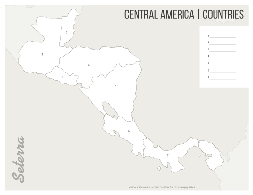 Central America Countries Printables Map Quiz Game